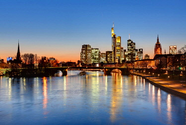 IBLMOX01865036 Skyline with Commerzbank Tower, European Central Bank, ECB, Hessische Landesbank, Cathedral, Opera Tower and Deutsche Bank buildings behind Alte Bruecke bridge, Frankfurt, Hesse, Germany, Europe