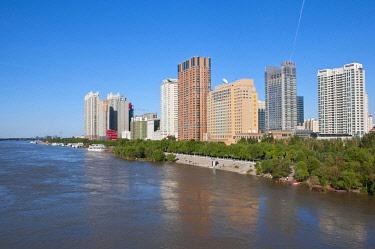 IBLRUN01828042 The skyline of Harbin with the Songhua River, Heilongjiang, China, Asia