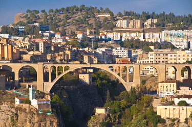 IBLRUN01850343 Pont Sidi M'Cid bridge with the Marabout of Sidi Rached, Constantine, Algeria, Africa