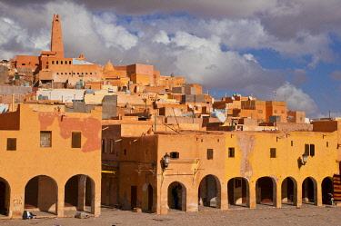 IBLRUN01851276 Market square in the village of Ghardaia in the UNESCO World Heritage Site of M'zab, Algeria, Africa