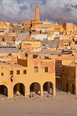 IBLRUN01851282 Market square in the village of Ghardaia in the Unesco World Heritage Site of M'zab, Algeria, Africa