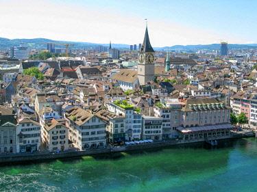 IBLSZM01785070 Panoramic view of Zurich on the Limmat river, Zurich, Switzerland, Europe