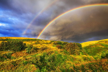 IBXANT04829907 Pennan, Aberdeenshire, Scotland, Rainbow over hills