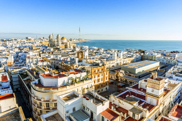 IBXJAS04666612 Cityscape with Cathedral of Cadiz, Cadiz, Andalusia, Spain, Europe