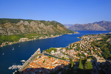 IBXMAN04840802 Old town of Kotor and Dobrota, view from fortress Sveti Ivan, bay of Kotor, Montenegro, Europe