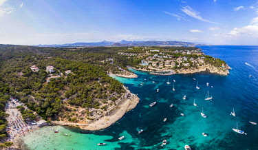 IBXMOX04818076 Drone shot, view over the Five Finger Bay of Portals Vells, Majorca, Balearic Islands, Spain, Europe