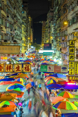 CH11963AWRF Fa Yuen street market at night, Mong Kok, Kowloon, Hong Kong, China