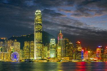 CH11965AWRF Hong Kong skyline, Skyscrapers on Hong Kong Island at night seen from Tsim Sha Tsui, Hong Kong Island, Hong Kong, China