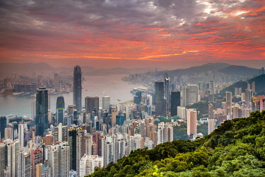 CH11966AWRF Hong Kong skyline at sunrise from Lugard Road on Victoria Peak, Hong Kong Island, Hong Kong, China