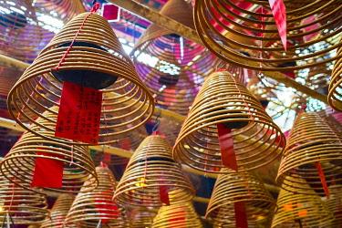 CH11967AWRF Incense coils at Man Mo Temple, Sheung Wan, Central District, Hong Kong Island, Hong Kong, China