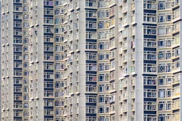 CH11970AWRF Apartment block towers in Tin Shui Wai, Yuen Long District, New Territories, Hong Kong, China