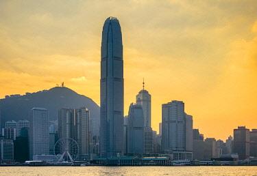 CH11971AWRF Hong Kong skyline, skyscrapers on Hong Kong Island seen from Tsim Sha Tsui at sunset, Hong Kong, China