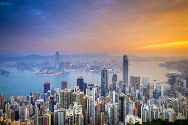 CH11973AWRF Skyscrapers in central Hong Kong seen from Victoria Peak at sunrise, Hong Kong Island, Hong Kong, China