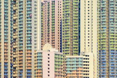 CH11927AW Apartment block towers in Tin Shui Wai, Yuen Long District, New Territories, Hong Kong, China