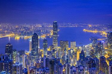 CH11933AW Skyscrapers in central Hong Kong seen from The Peak at dawn, Hong Kong Island, Hong Kong, China