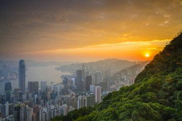 CH11934AW Skyscrapers in central Hong Kong seen from Victoria Peak at sunrise, Hong Kong Island, Hong Kong, China