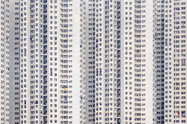 CH11946AW Public housing apartment block towers in Tseung Kwan O, Sai Kung District, New Territories, Hong Kong, China