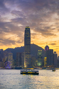 CH11959AW Hong Kong skyline, skyscrapers on Hong Kong Island skyline at sunset seen from Tsim Sha Tsui, Kowloon, Hong Kong, China