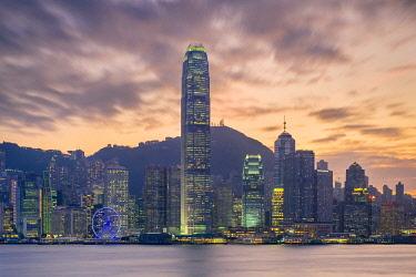 CH11960AW Hong Kong skyline, skyscrapers on Hong Kong Island skyline at sunset seen from Tsim Sha Tsui, Kowloon, Hong Kong, China