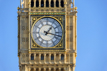 ENG16197AW United Kingdom, England, London. Clock face of Big Ben (Elizabeth Tower), which stands at the north end of the Palace of Westminster.