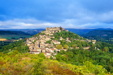 FRA11107AW View of hilltop town of Cordes-sur-Ciel, Tarn Department, Midi-Pyrénées, France.