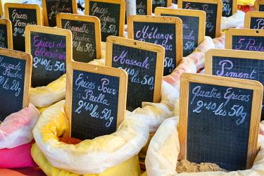 FRA11116AW Morning farmer's market on Place Carnot, Ville Basse, Carcassonne, Aude Department, Languedoc-Roussillon, France.