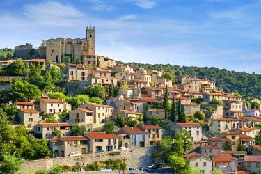 FRA11123AW Hilltop town of Eus, Pyrénées-Orientales, Languedoc-Roussillon, France.