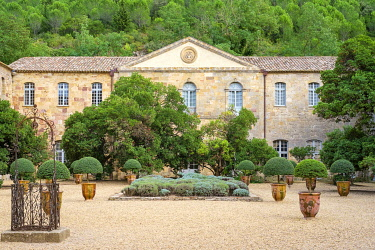 FRA11133AW Cour Louis XIV at Abbaye de Fontfroide, Aude Department, Languedoc-Roussillon, France.