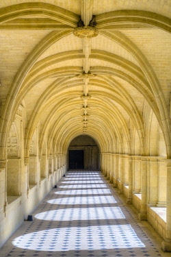 FRA11220AW Arched interior gallery of cloister at Fontevraud Abbey, Fontevraud l'Abbaye, Maine-et-Loire, Pays-de-la-Loire, France.