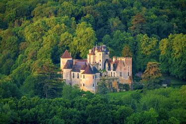 FRA11257AW Aerial view of Château de la Malartrie castle, Vézac, Dordogne Department, Aquitaine, France