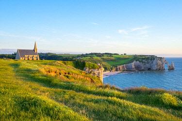 FRA11357AW France, Normandy (Normandie), Seine-Maritime department, Etretat. Chapelle Notre-Dame de la Garde chapel and white chalk cliffs.