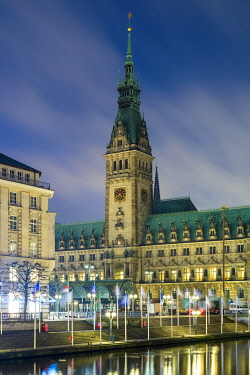 GER11811AWRF View of Hamburg Rathaus (Town Hall) at night, Hamburg, Germany, Europe.