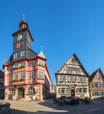 GER11756AW Germany, Hessen, Heppenheim. Historic buildings on Marktplatz market square.