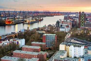 GER11759AW High Angle view of central Hamburg at sunset, Hamburg, Germany, Europe.