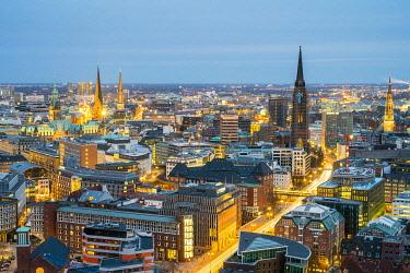 GER11760AW High angle view of central Hamburg city skyline at night, Hamburg, Germany, Europe.