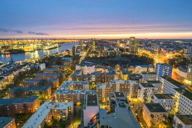 GER11761AW High angle view of central Hamburg city skyline at night, Hamburg, Germany, Europe.