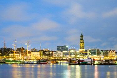 GER11762AW Hamburg skyline along Elbe River at night, Hamburg, Germany, Europe.