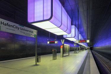 GER11770AW HafenCity Universität station on U4 U-Bahn line, HafenCity, Hamburg, Germany