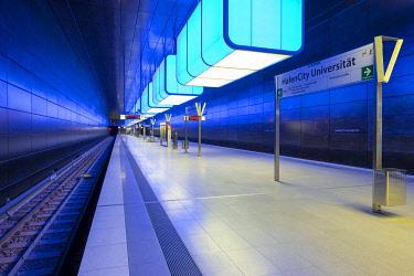 GER11771AW HafenCity Universität station on U4 U-Bahn line, HafenCity, Hamburg, Germany