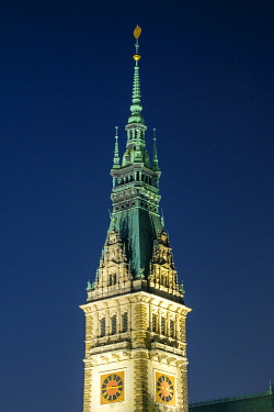 GER11796AW Tower of Hamburg Rathaus (City Hall) at night, Altstadt, Hamburg, Germany