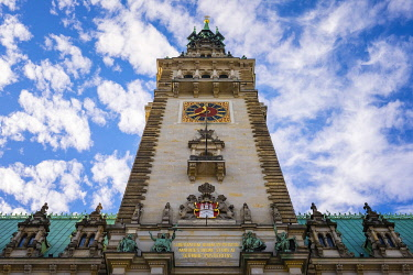 GER11798AW Clocktower of Hamburg Rathaus (City Hall), Hamburg, Germany