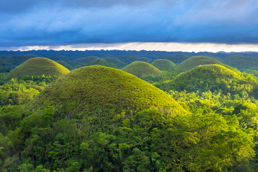 PHI1557AW Chocolate Hills in late afternoon, Carmen, Bohol, Central Visayas, Philippines