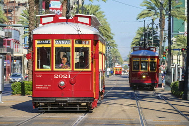USA14484AW United States, Louisiana, New Orleans, French Quarter. Canal Street streetcar line.