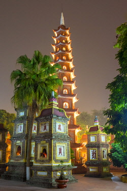 VIT1648AW Tran Quoc Pagoda at night,  Hanoi, Vietnam