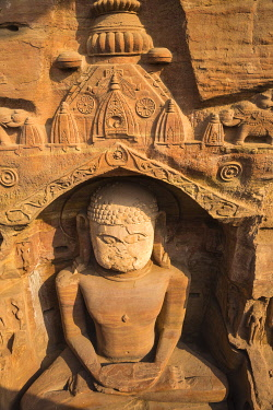 IN08448 India, Madhya Pradesh, Gwalior, Gopachal Parvat, Jain Images cut into the cliff rock of Gwalior Fort
