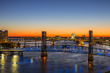 US10RDY0048 Main Street Bridge, St. Johns River. Jacksonville, Florida.