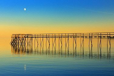 CN03BJY0274 Canada, Manitoba, Winnipeg. Pier on Lake Winnipeg with rising moon