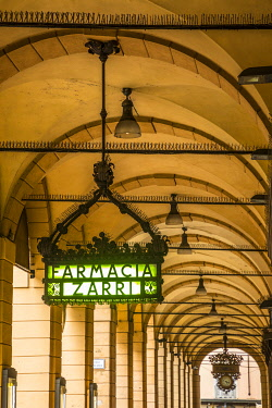 IT08131 Farmacia Zarri sign, Covered passageway/Portico, Bologna, Emilia-Romagna, Italy