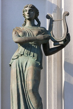 EU50KSU0036 Statue of musician playing harp in front of the Opera and Ballet Theater, Minsk, Belarus