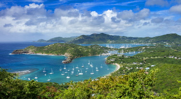 CA03BJN0026 Lookout view from Shirley Heights over Admiral Nelson's Dockyards, Antigua, Leeward Islands, West Indies
